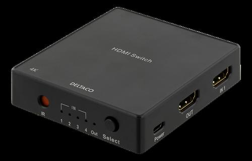 Deltaco HDMI Switch med fjärrkontroll, 4 källor, 4K-stöd