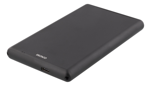 Deltaco Externt HDD/SDD-kabinett, USB-C, USB 3.0, 2.5