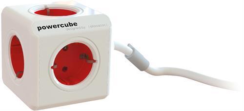 Allocacoc PowerCube Extended grenuttag med 5xCEE 7/4 uttag, röd