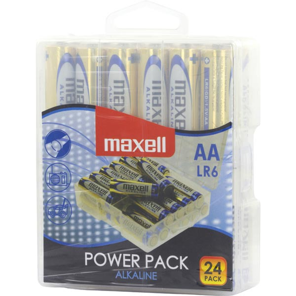 Maxell Power Pack alkaliska AA-batterier (LR06), 24-pack