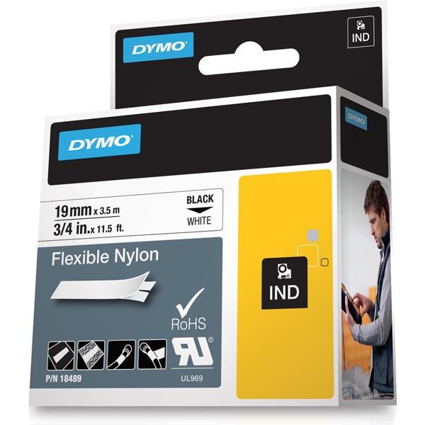 Dymo Rhino Professional vit märktejp i nylon, 19 mm, 3.5 m