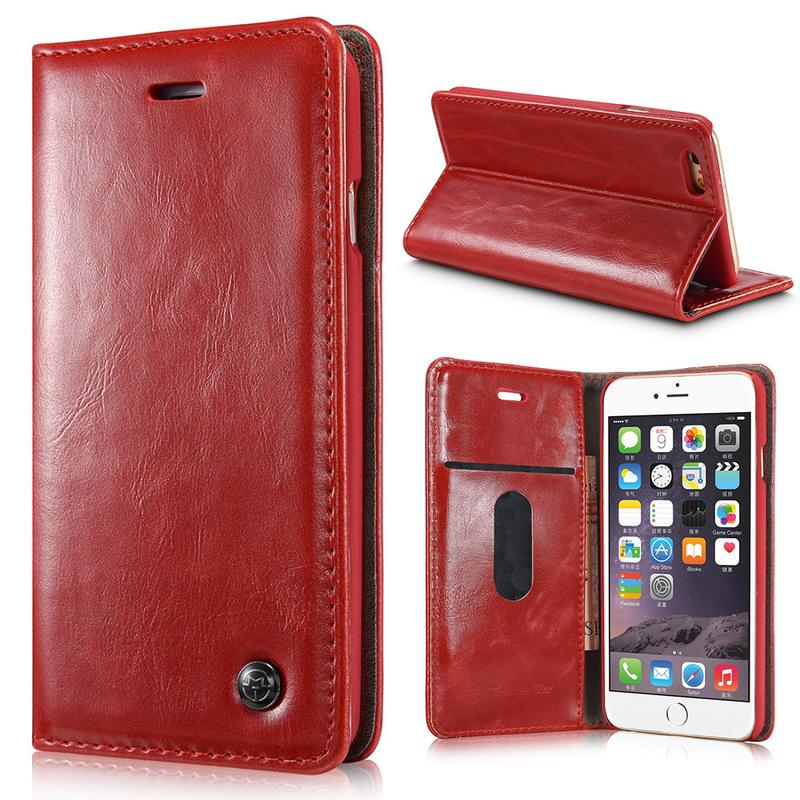 CaseMe Crazy Horse läderfodral med ställ till iPhone 6, röd