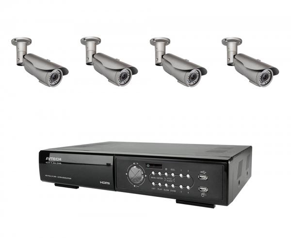 Övervakningspaket utomhus 4 kameror, DVR, 500GB hårddisk