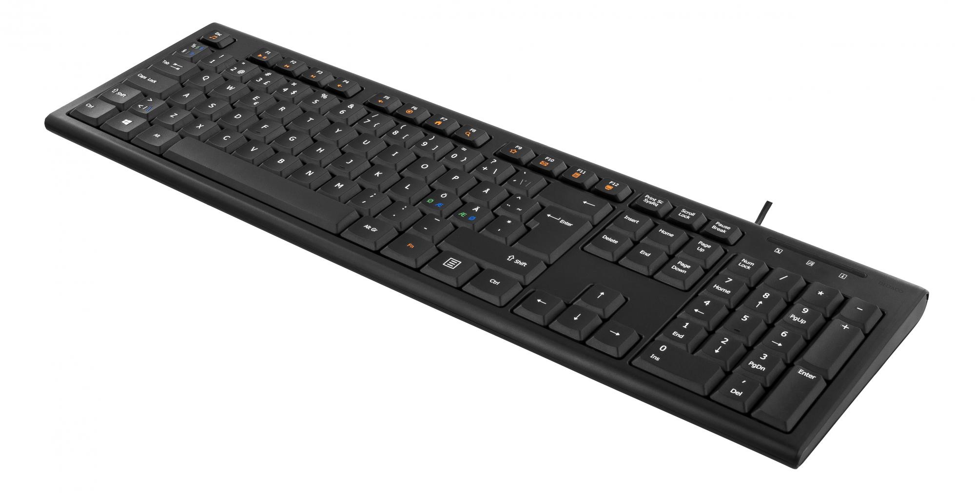Deltaco USB tangentbord, 13 mediatangenter, svart