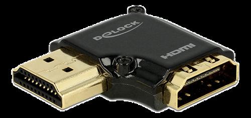 DeLOCK HDMI-adapter, 19-pin ho-ha, vinklad 90° vänster, svart