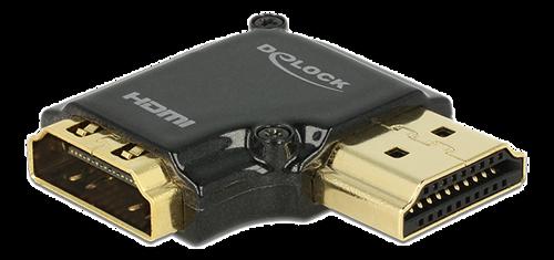 DeLOCK HDMI-adapter, 19-pin ho-ha, vinklad 90° höger, svart