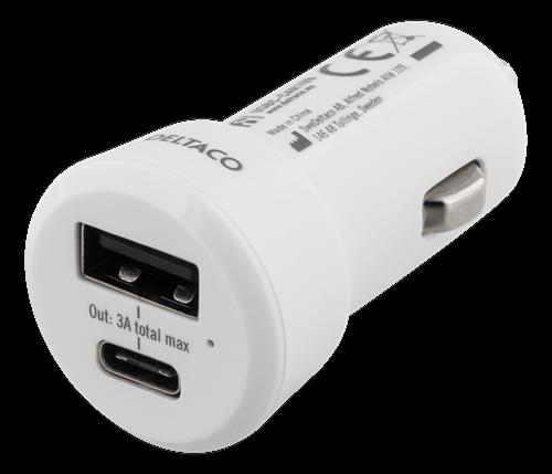Deltaco billaddare, 5V 3A 15W, USB-C hona, USB-A hona, vit