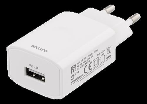 Deltaco USB-A Väggladdare, 100-240V, 5V, 2.4A, vit