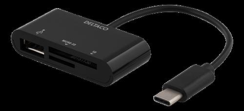 Deltaco SD/micro SD adapter, 30 Mbytes/s, svart