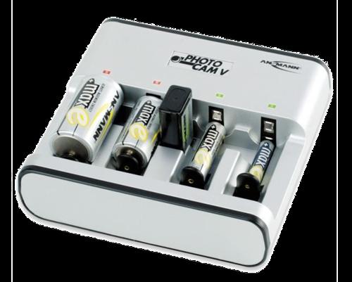 Ansmann Photocam batteriladdare för alla storlekar, 800mA