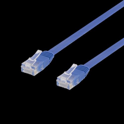 Deltaco nätverkskabel U/UTP Cat6, flat, 0.3m, 250MHz, blå