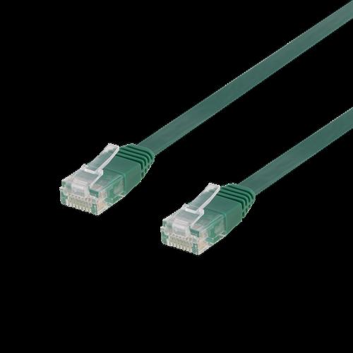 Deltaco nätverkskabel U/UTP Cat6, flat, 3m, 250MHz, grön