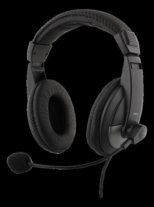 Deltaco over-ear headset med volymkontroll, 4-polig 3.5mm, svart