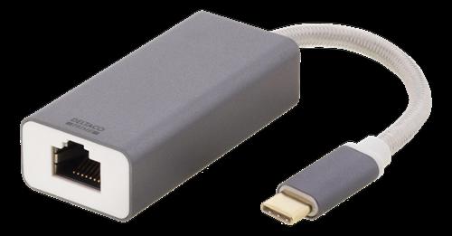 Deltaco PRIME USB-C nätverksadapter, aluminium, rymdgrå