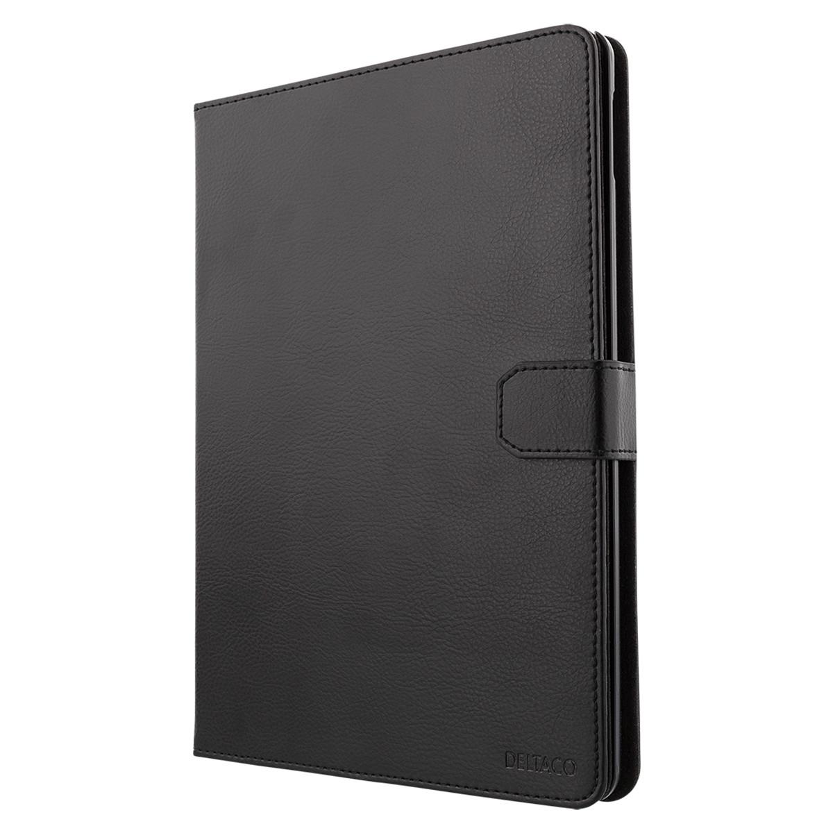 DELTACO läderfodral med ställ till iPad 9.7 (2017/2018), svart