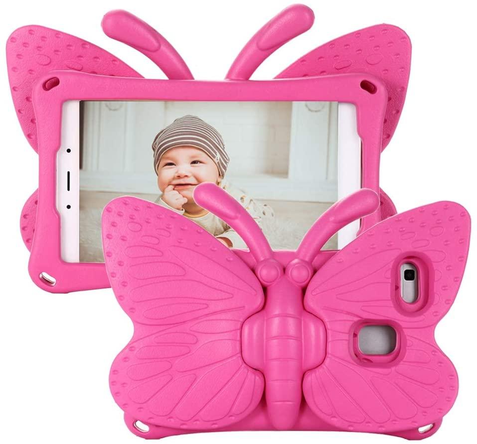 Fjärilsformat barnfodral, Samsung Tab A 8.0, mörkrosa