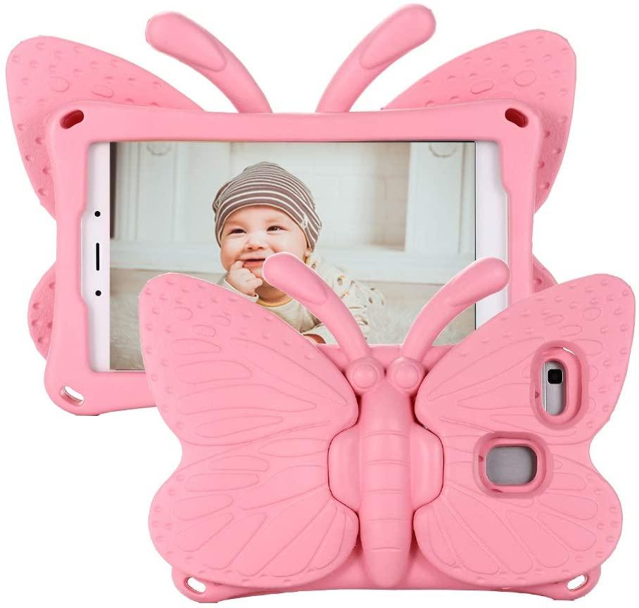 Fjärilsformat barnfodral, Samsung Tab A 8.0, rosa