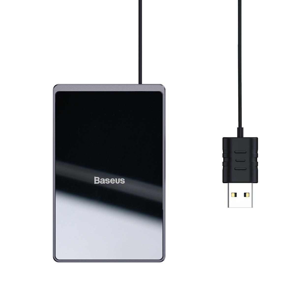 Baseus Card Ultratunn trådlös laddare+USB-kabel (1m), 15W, svart