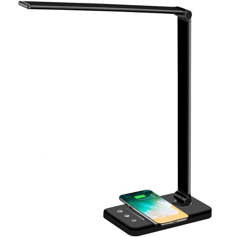 Dimbar skrivbordslampa med QI-laddning och 5 ljuslägen, svart