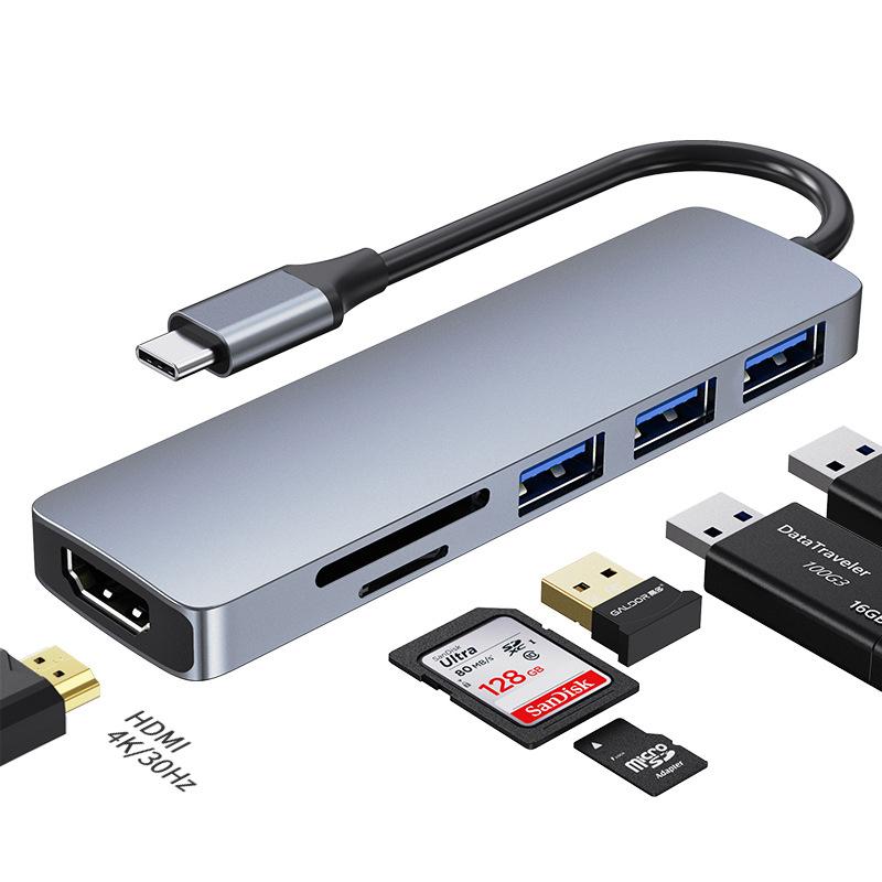 6-i-1 USB-C hubb med 3xUSB 3.0, kortläsare och HDMI, PD, 87W