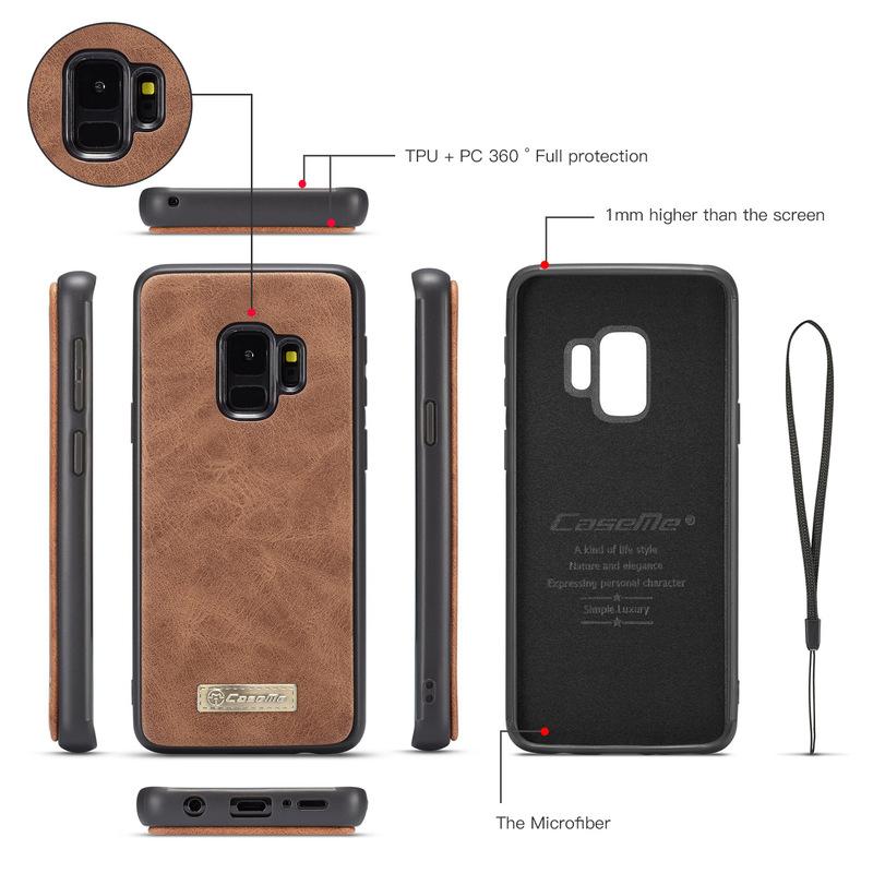 CaseMe plånboksfodral med magnetskal, Samsung Galaxy S9, brun
