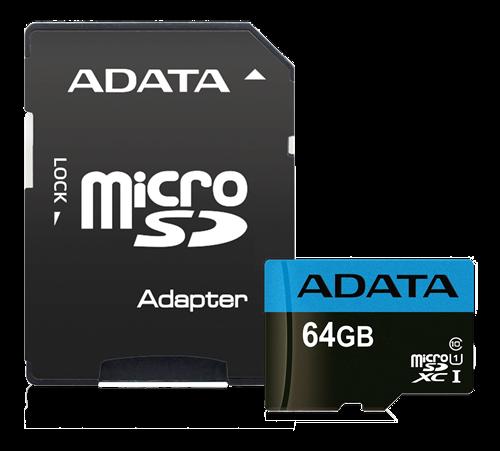 ADATA MicroSDXC minneskort med SD-adapter, UHS-I, Klass 10, 64GB