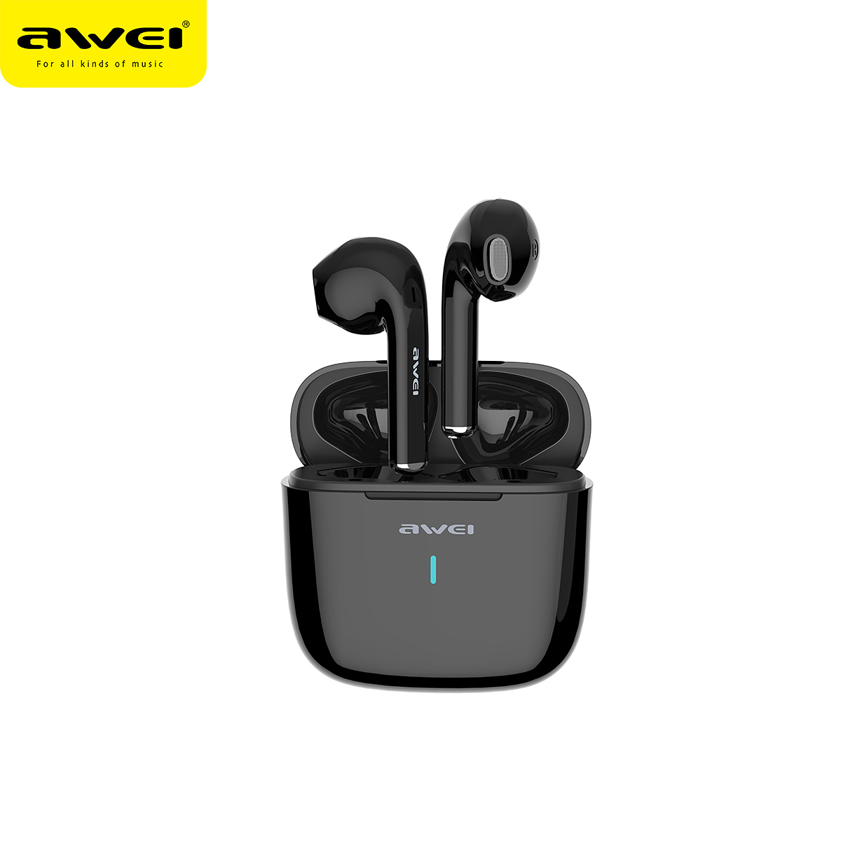 AWEI T26 Trådlösa in-ear hörlurar, Bluetooth 5.0, svart