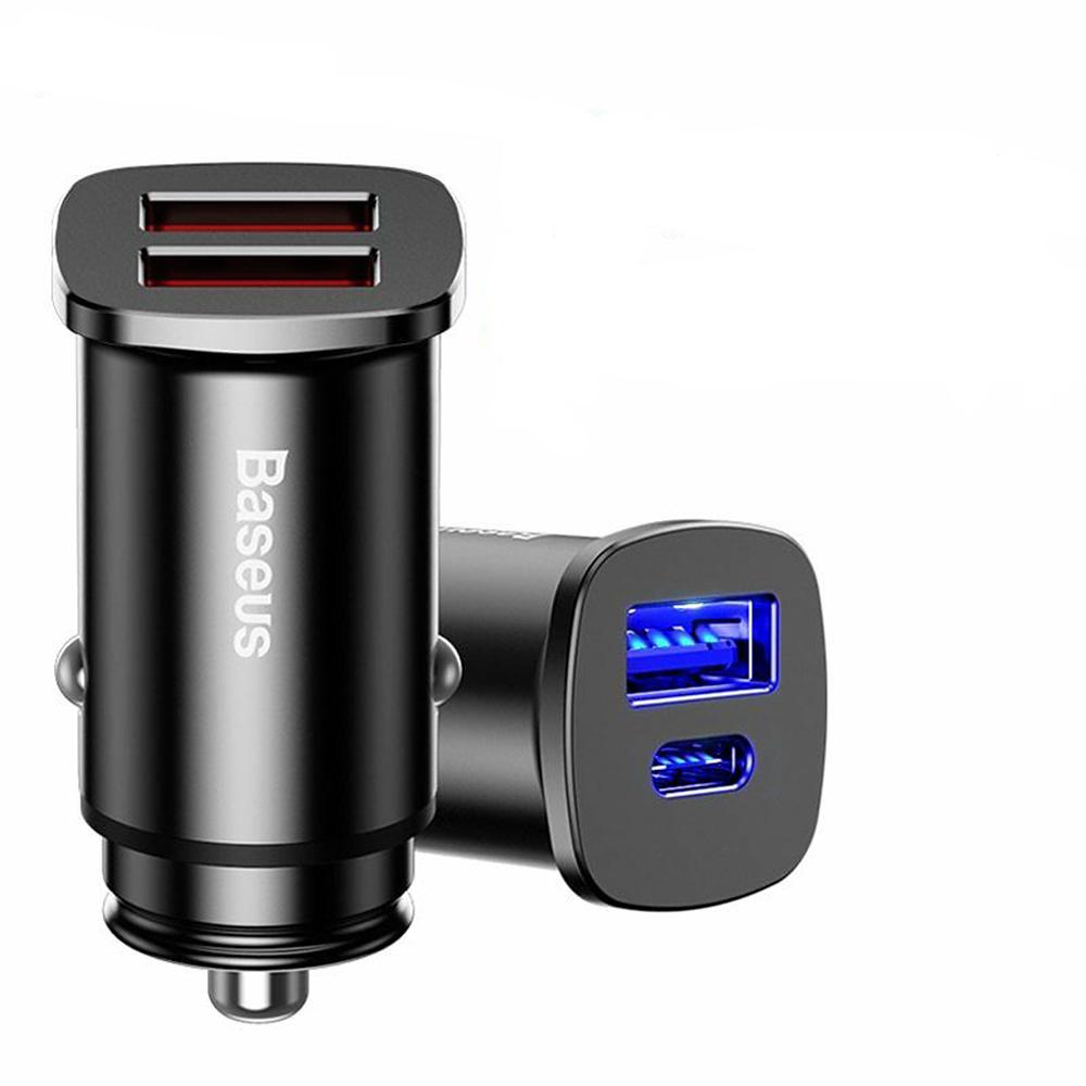 BASEUS USB-C och USB-A, smart snabbladdare till bilen
