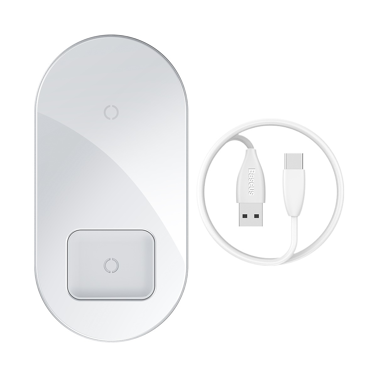 Baseus trådlös dualladdare, snabbladdning, 15W, vit