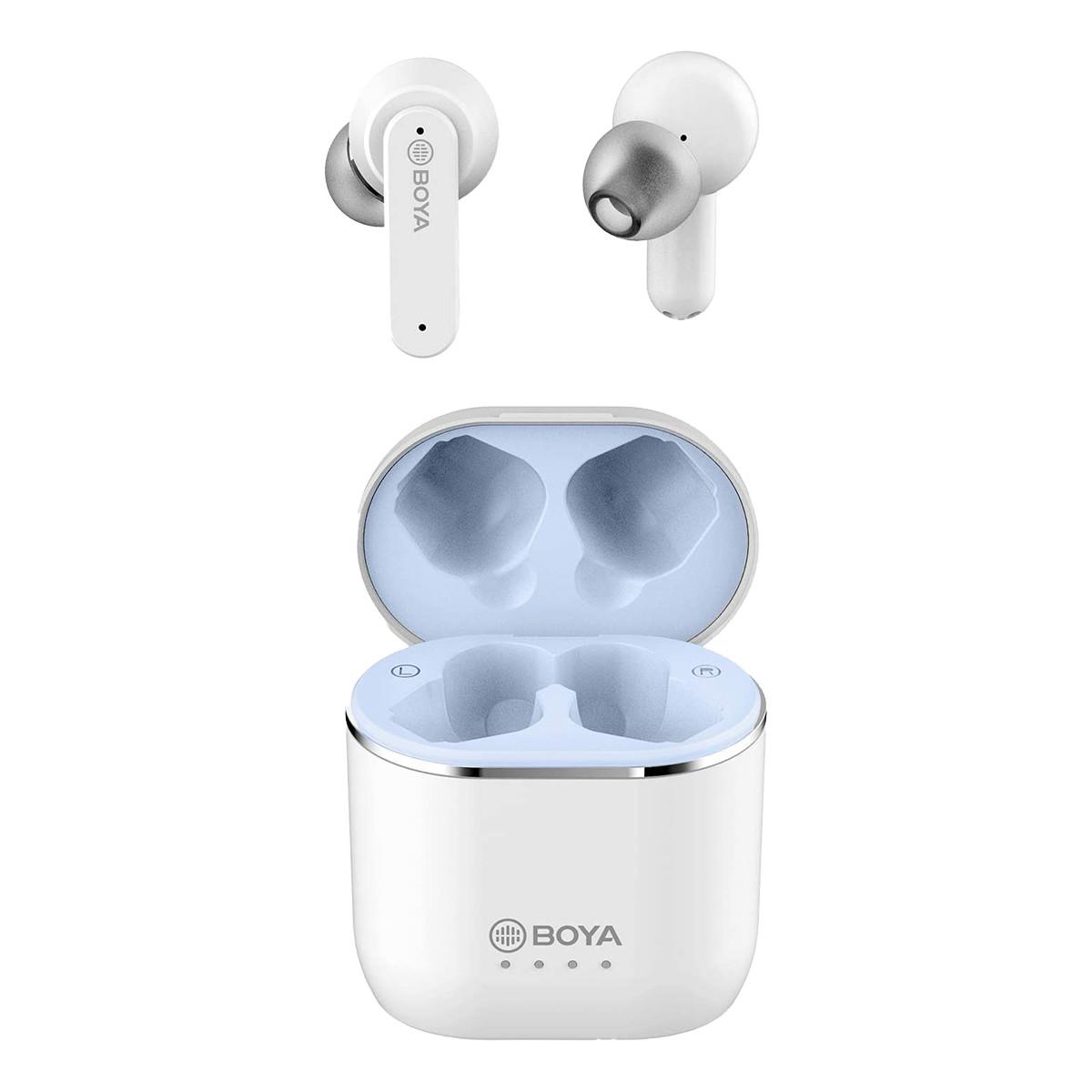 BOYA Trådlösa TWS Half-In-Ear hörlurar, brusreducering, vit