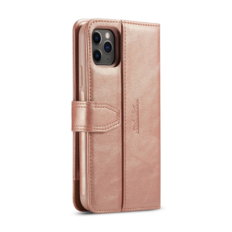 BRG Luxury läderfodral med ställ till iPhone 11 Pro Max, rosa