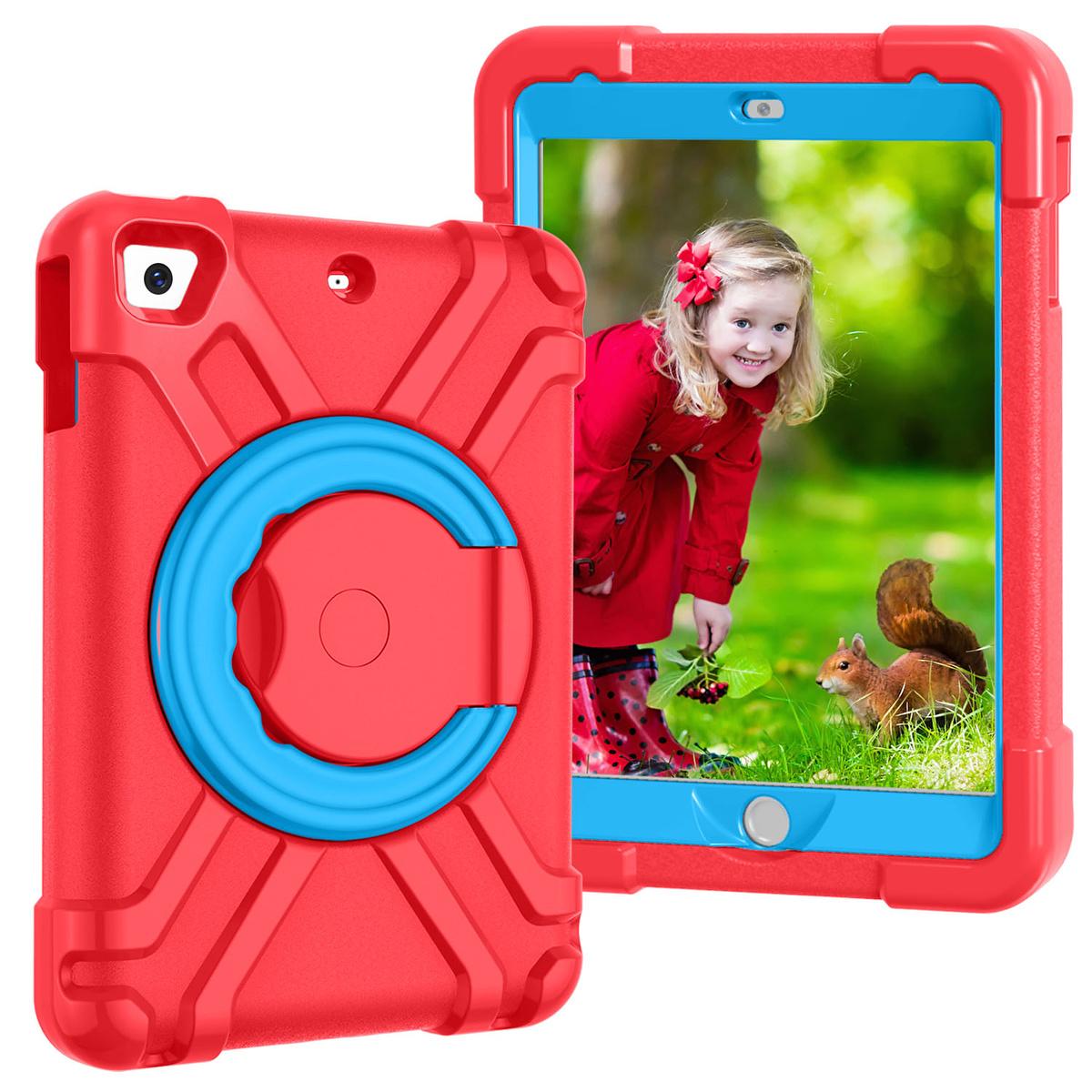 Barnfodral med roterbart ställ, iPad Mini 1/2/3, röd/blå