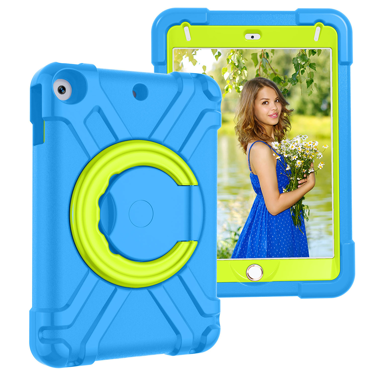 Barnfodral med roterbart ställ, iPad mini 4/5, blå/grön
