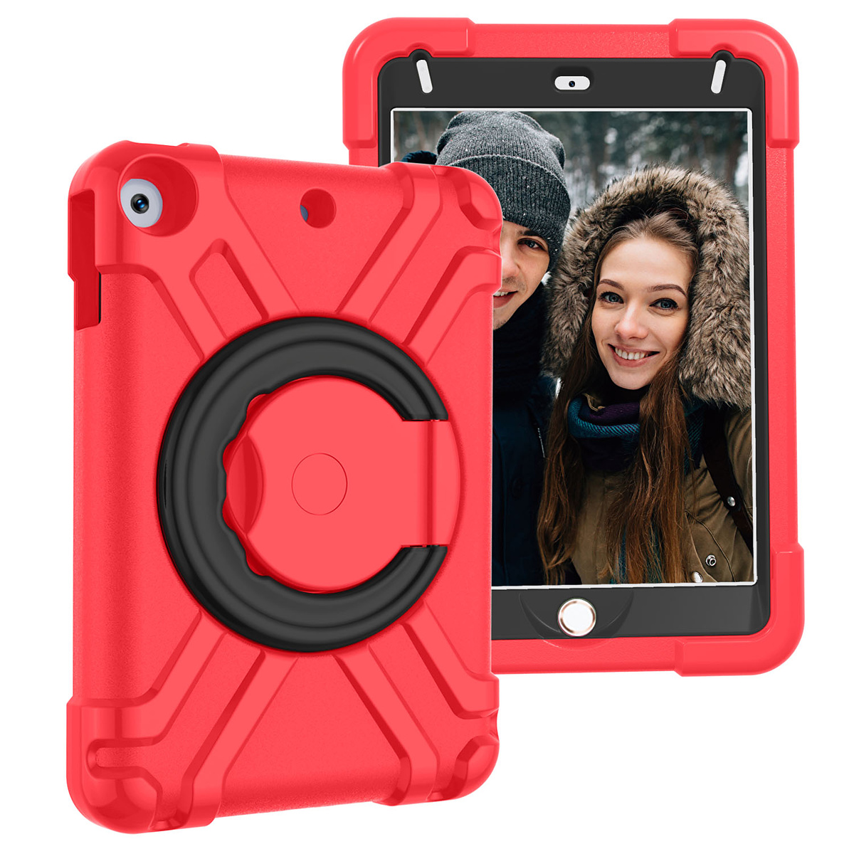Barnfodral med roterbart ställ, iPad mini 4/5, röd/svart