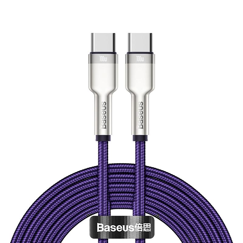 Baseus Cafule USB-C till USB-C datakabel, 100W, 5A, 2m, lila