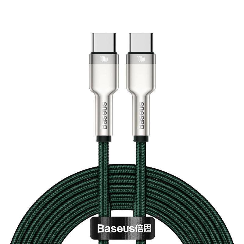 Baseus Cafule USB-C till USB-C datakabel, 100W, 5A, 2m, grön