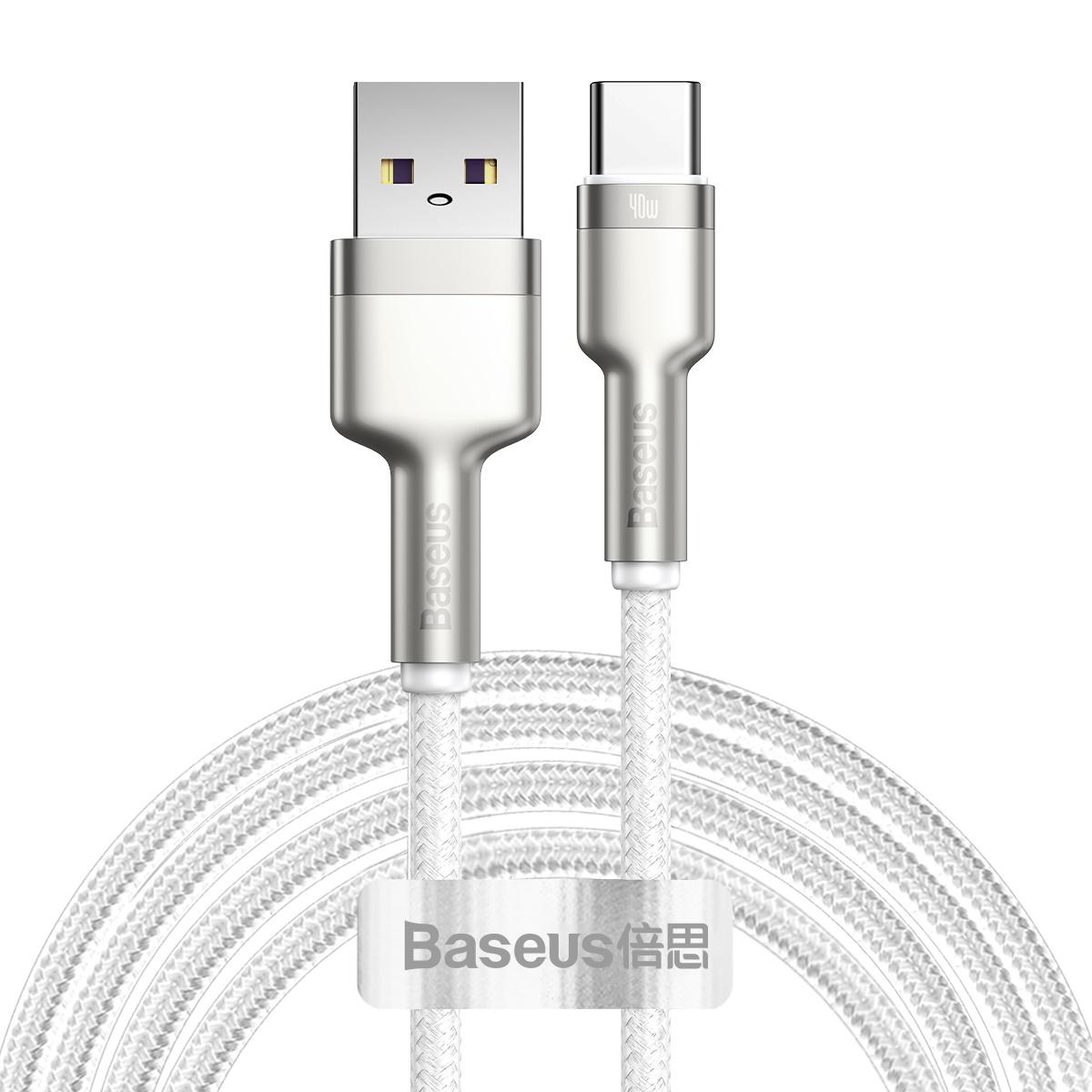 Baseus Cafule USB till USB-C datakabel, 40W, 5A, 2m, vit