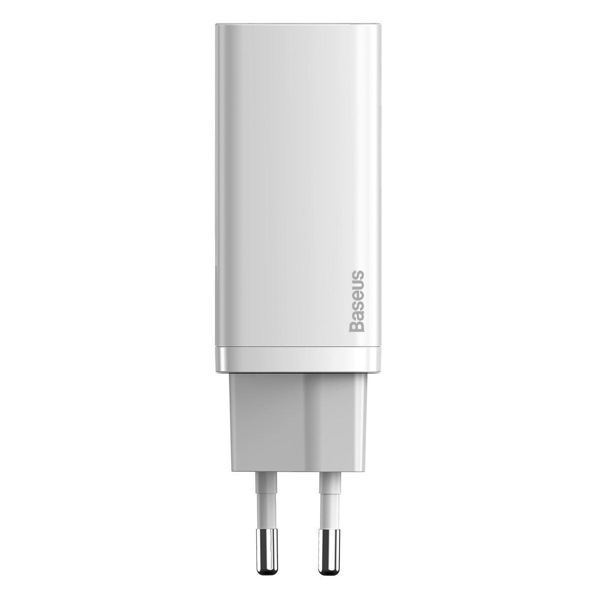 Baseus GaN2 Lite Väggladdare med USB-C+USB, 65W, EU, vit
