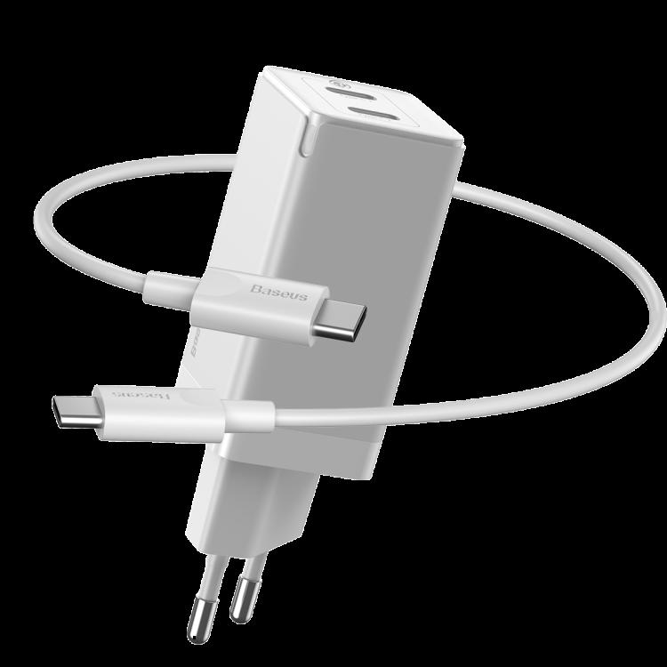 Baseus GaN2 Väggladdare med 2xUSB-C+kabel, 45W, 3A, vit