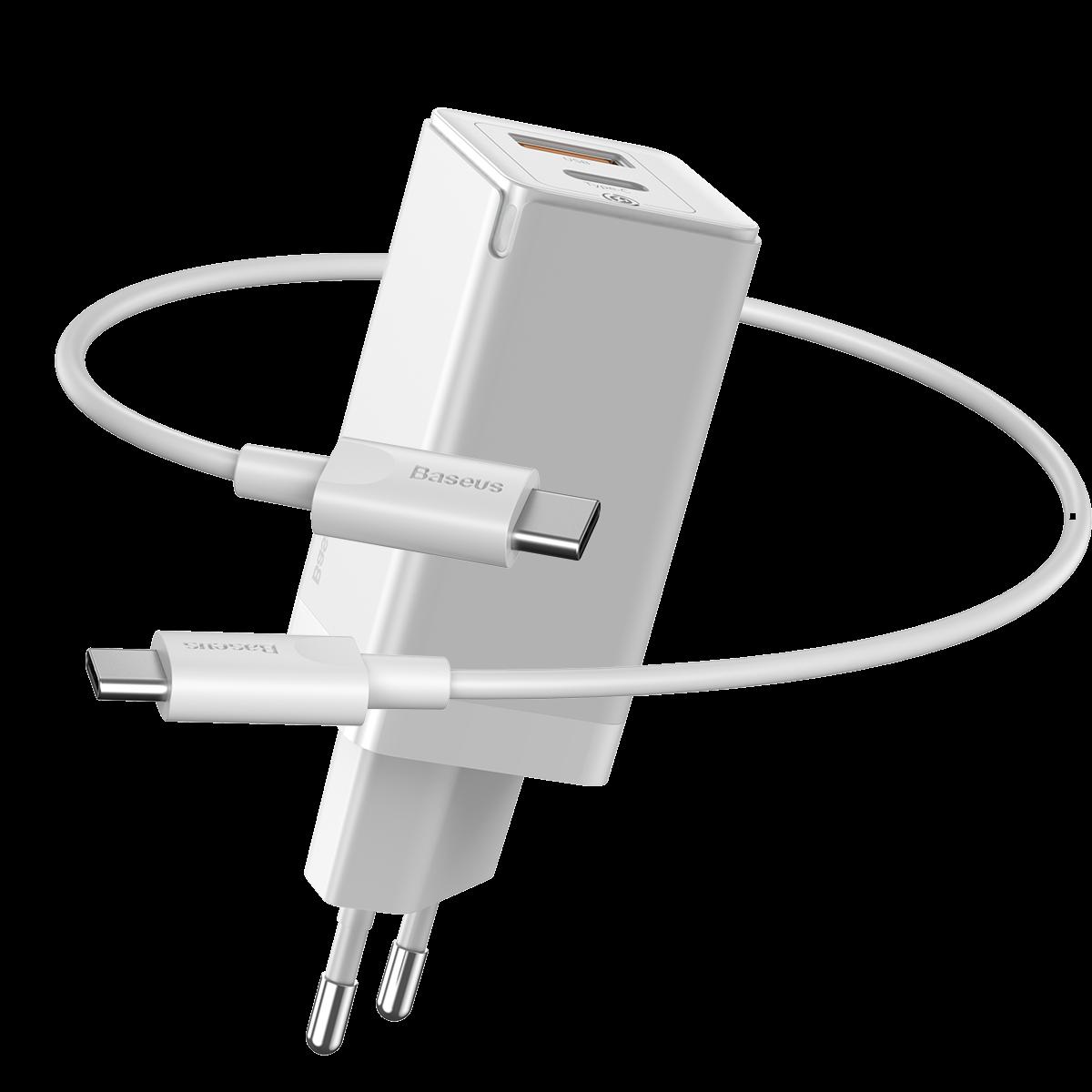 Baseus GaN2 USB-C och USB Väggladdare+USB-C kabel, 45W, 3A, vit