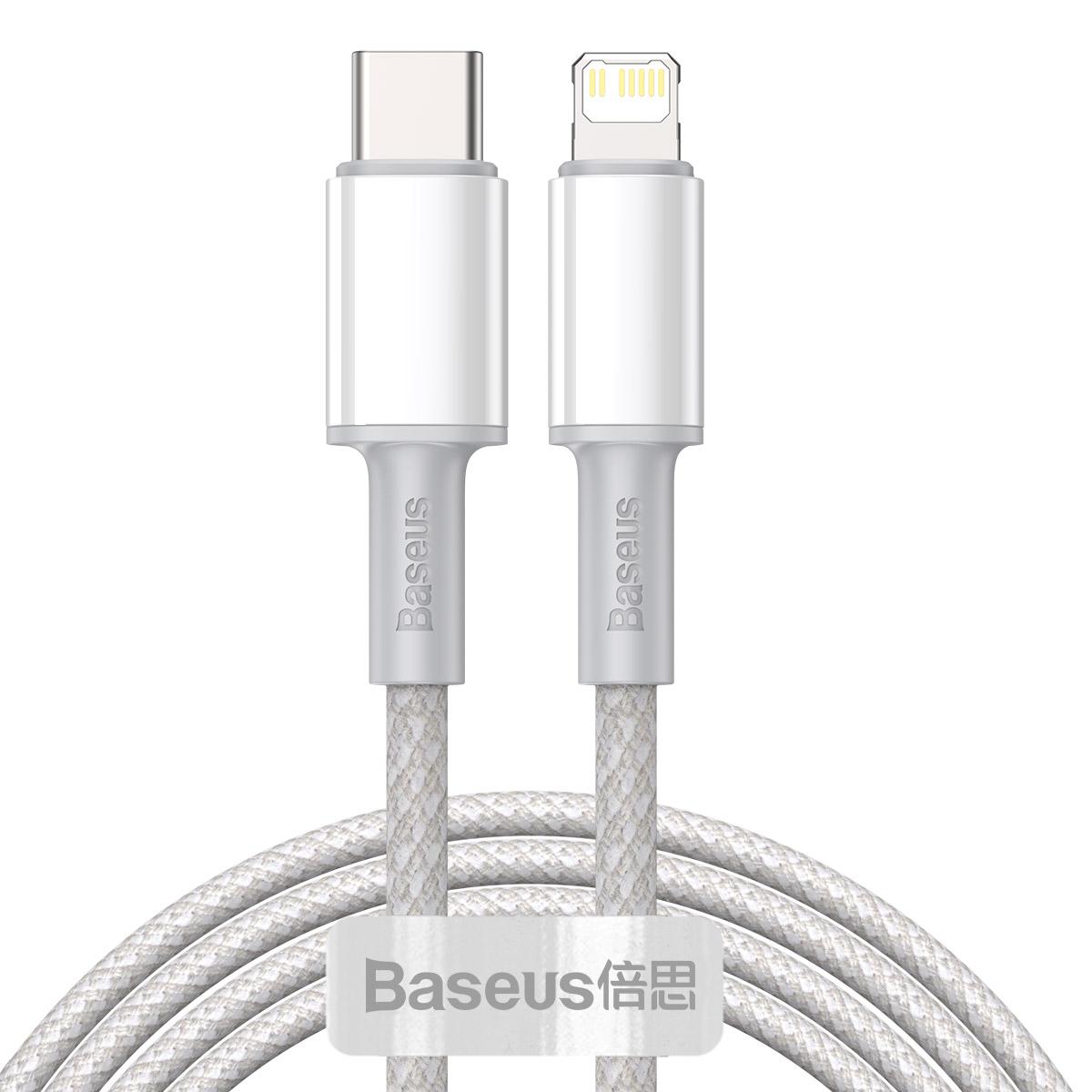 Baseus CATLGD-A02 Lightning till USB-C kabel, PD, 3A, 2m, vit