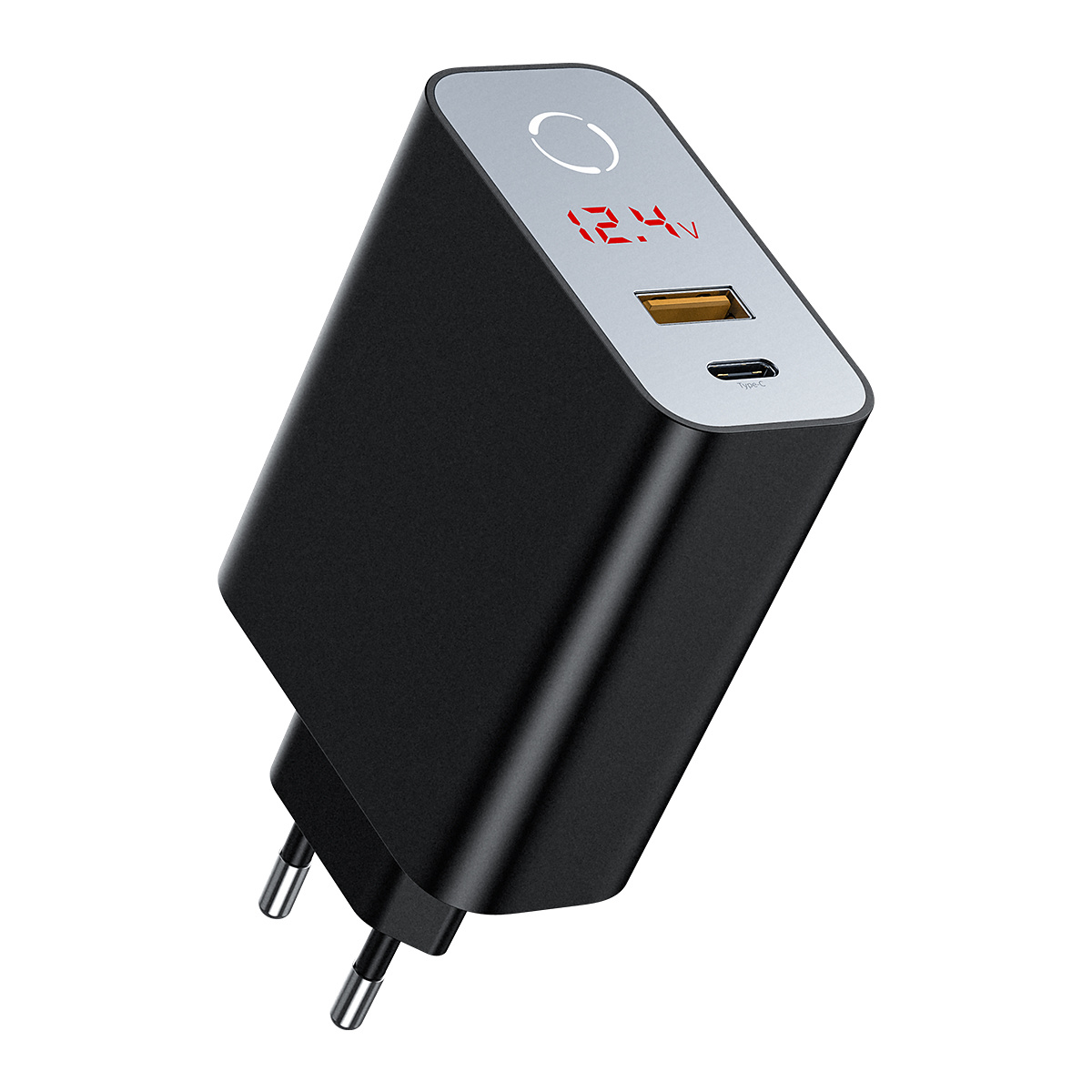 Baseus Speed PPS Laddare QC 3.0, Display, USB-C, USB-A, svart