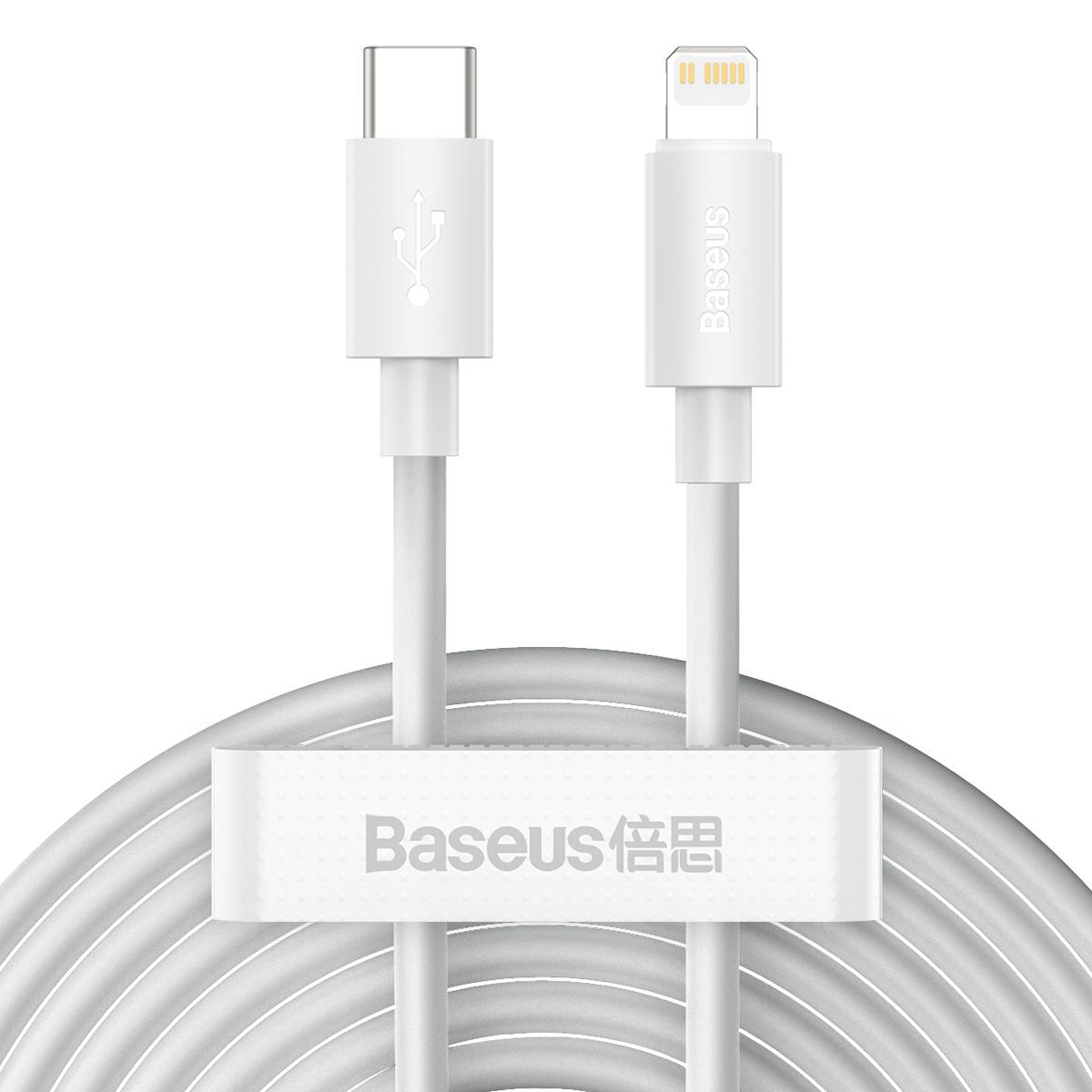 Baseus Simple USB-C-Lightning-kabel, PD, 20W, 1.5m, 2-pack