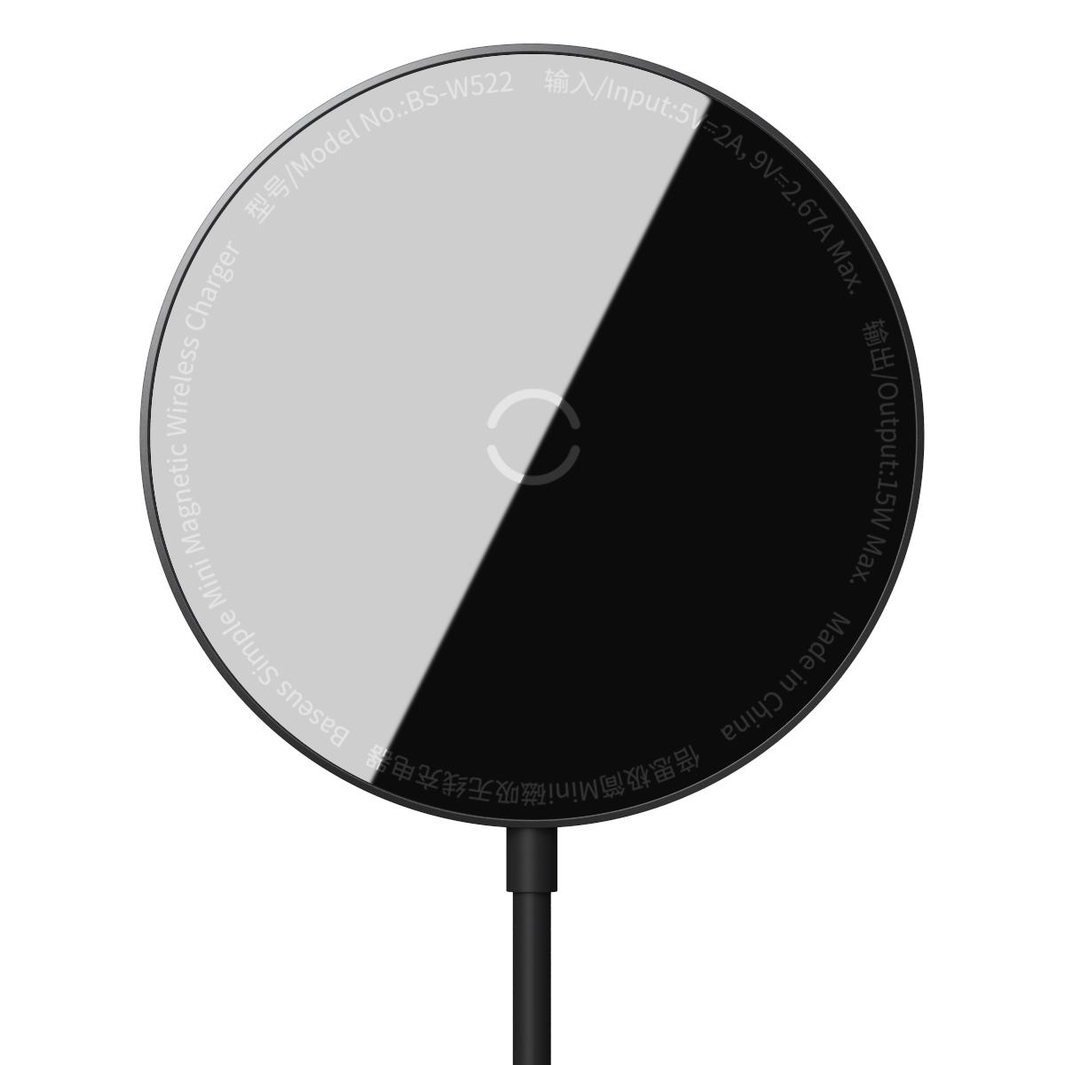 Baseus WXJK-F01 Magnetisk trådlös laddare, iPhone 12, 15W, svart