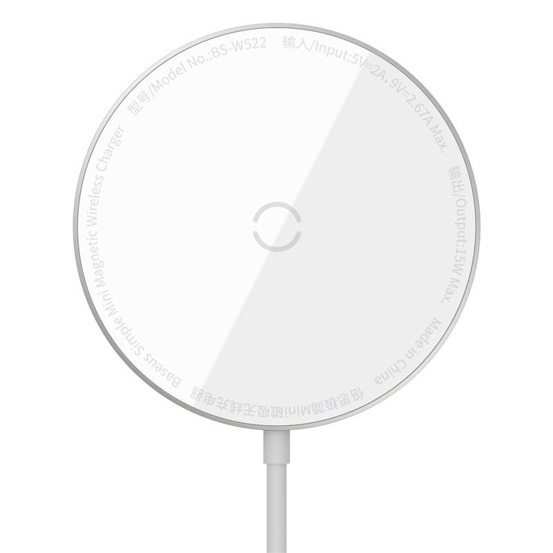 Baseus WXJK-F02 Magnetisk trådlös laddare, iPhone 12, 15W, vit