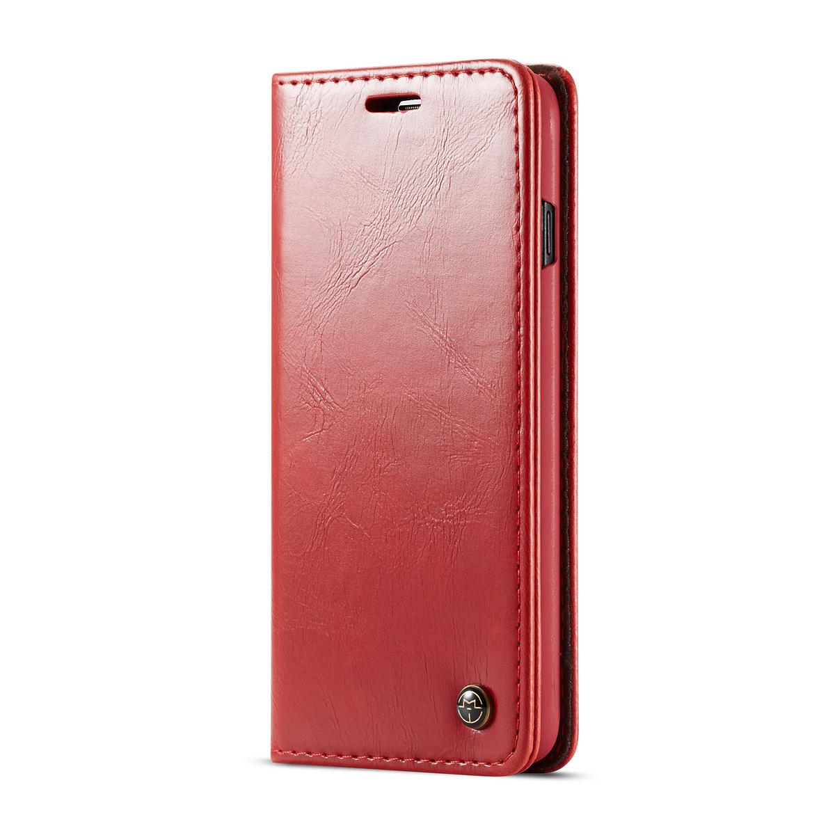 CaseMe läderfodral, ställ, Samsung Galaxy S10 Plus, röd