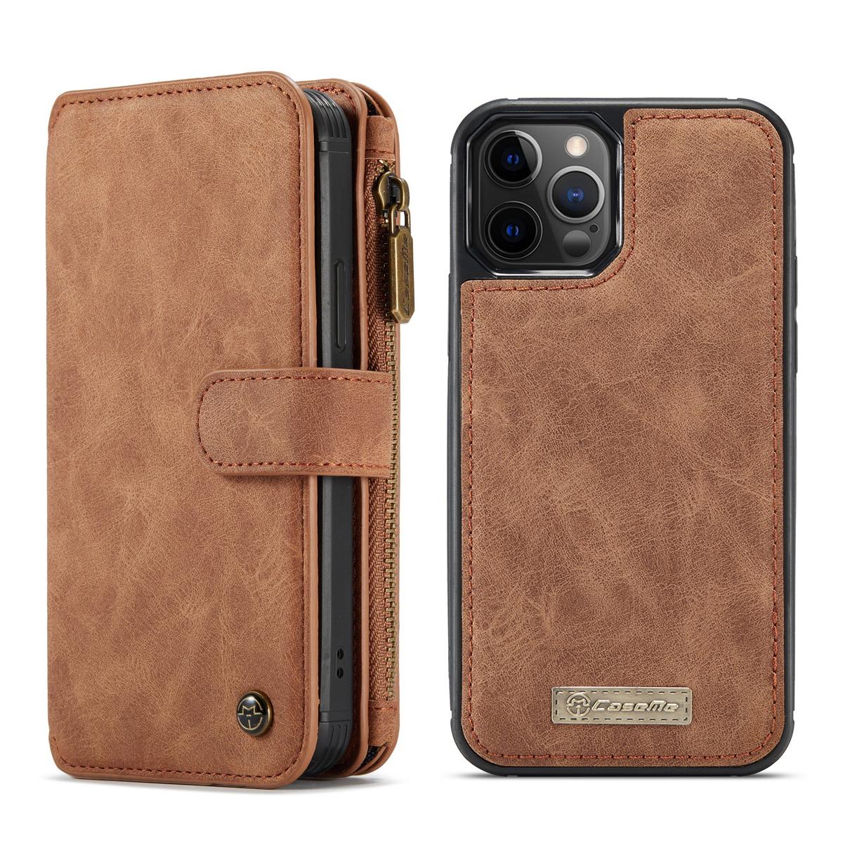 CaseMe läderfodral med magnetskal, iPhone 12 Pro Max, brun