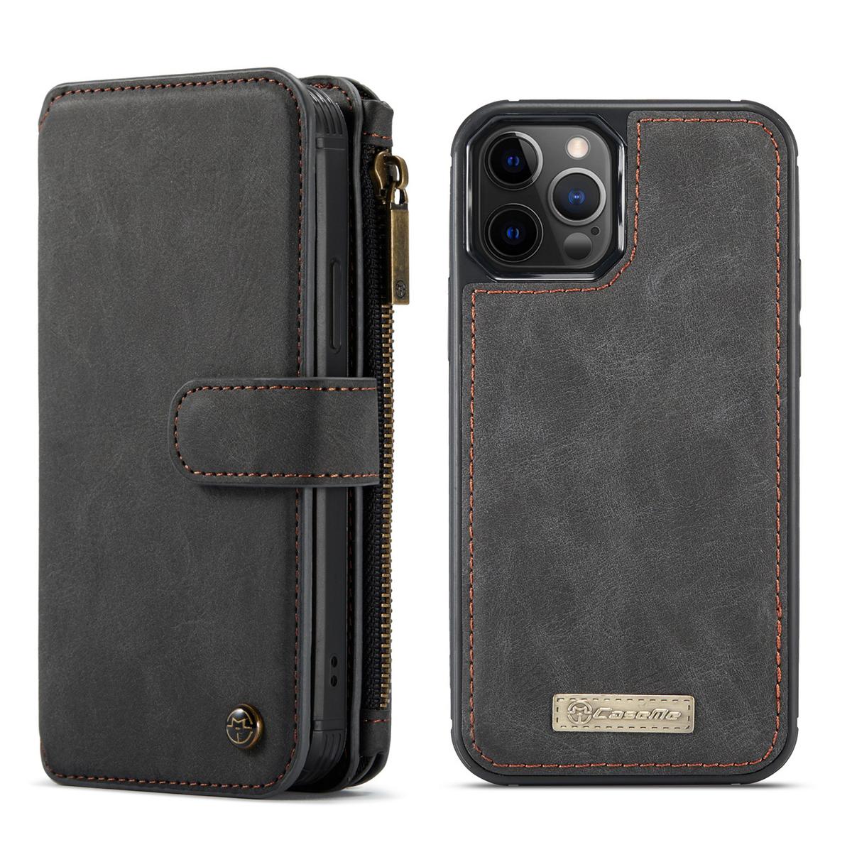 CaseMe läderfodral med magnetskal, iPhone 12/12 Pro, svart