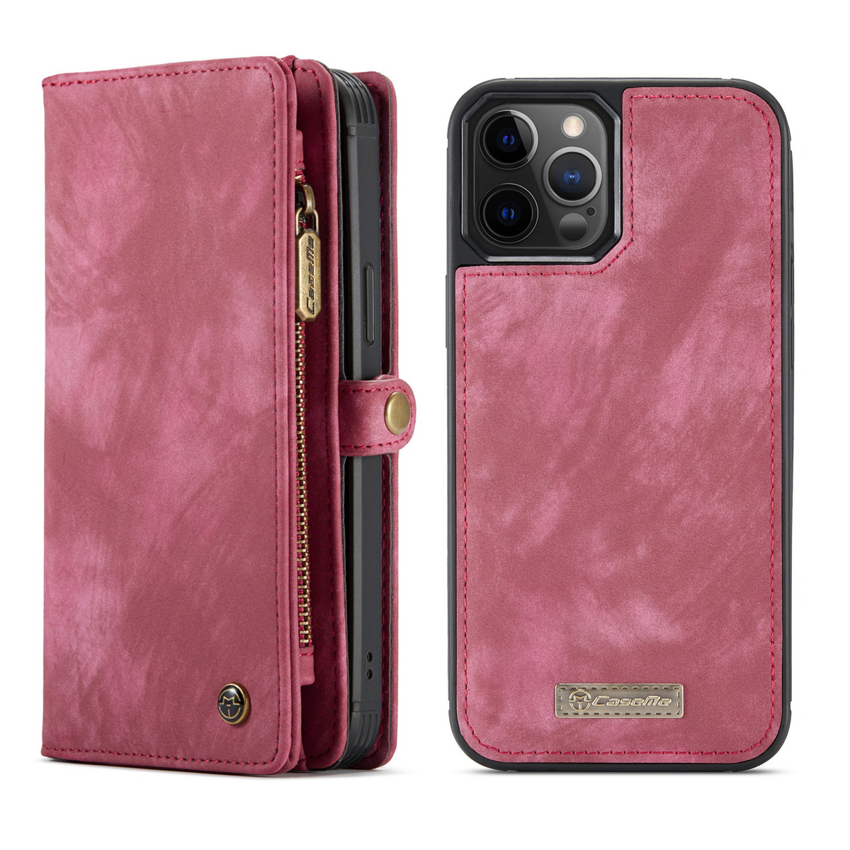 CaseMe 008 Series läderfodral, iPhone 12/12 Pro, röd