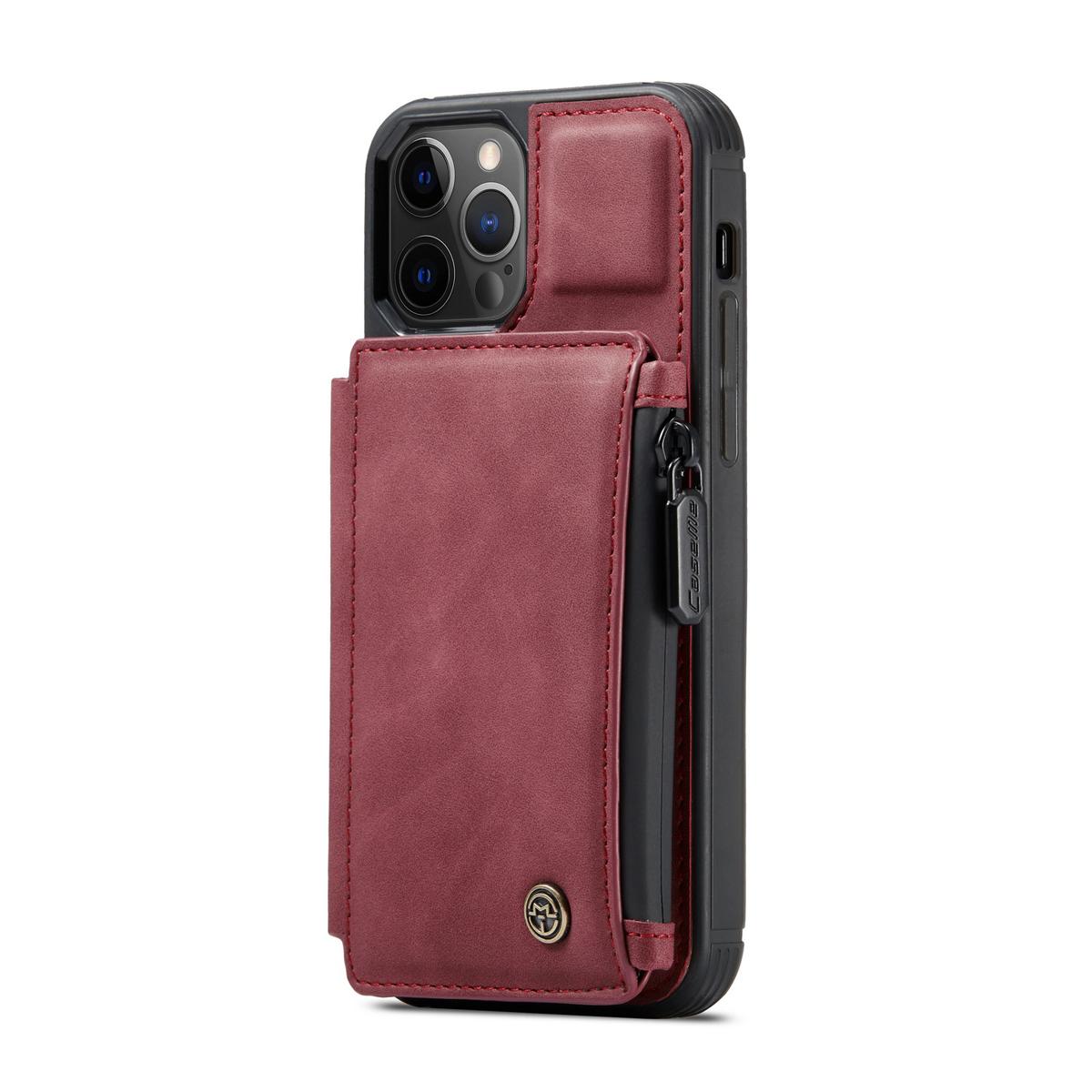 CaseMe C20 Series läderfodral till iPhone 12/12 Pro, röd